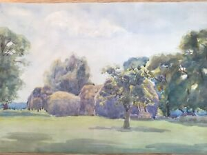 Vintage Painting of a Landscape , Watercolour 1930s , 14 x 9.5in