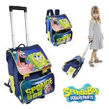 Spongebob Trolley Bag School Wheeled Hand Luggage Travel Case Extending Backpack