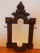 Antique Folk Tramp Art Wooden Picture Frame Mirror