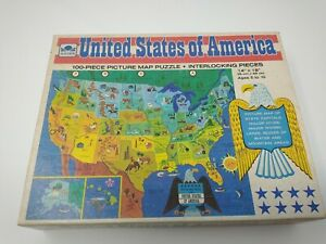 Vintage 1965 Golden United States of America USA Picture Map Puzzle 4614-10 NEW