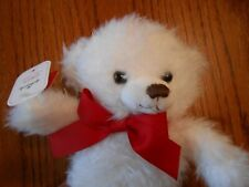 Hallmark Owen Teddy Bear Fuzzy Soft Stuffed White w/Red Bow Plush Nwt