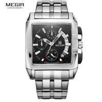 MEGIR Date Chronograph Watches Men Luxury Stainless Steel Business Waterproof