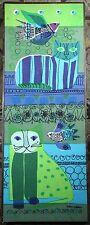 Helen Webber Cat & Bird Fabric Print Vintage Tom Tru Tapestry Framed Textile Art
