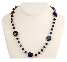 Blue Lapis Lazuli Faceted Necklace 14k gold fill chain Bezel Set 24 Inch Large