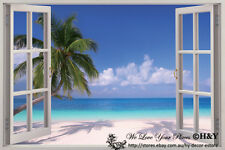 3D Palm Beach Window View Removable Wall Art Stickers Vinyl Decal Home Decor