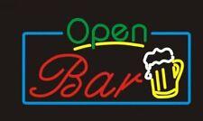 "New Open Bar Wine artwork Real glass Neon Sign 32""x20"" Beer Lamp Light"