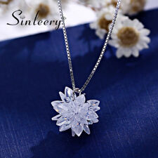 Luxury White/Black/Pink/Purple Crystal Flower Pendant Necklace Fashion Jewelry
