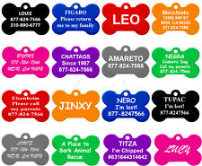 Bone Shape Pet ID Tags, Dog Tags, 8 Colors to Choose, (PREMIUM ALUMINUM)