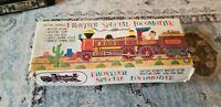 RARE VINTAGE BATTERY OPERATED MYSTERY ACTION FRONTIER 3535 LOCOMOTIVE TIN TRAIN