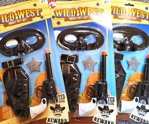 2 x Wild west Cowboy Gun set Sheriff Pistol Holster sheriff badge Fancy Dress