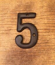 "Solid Cast Iron House Address Number FIVE 3 1/2"" tall 0184S-13021-5"