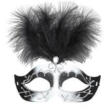 Black & White Venice Eyemask With Glitter, Gem & Feathers - Mask Whitney Beauty