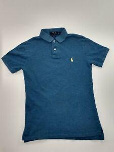 Polo Ralph Lauren Boys Small Blue Slim Fit Yellow Pony Logo Polo Shirt