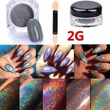 2g/box HOLO Nails Effect Holographic laser chrome powder glitter  dust Silver