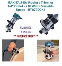 "Makita 240v Router/trimmer 1/4"" COLLET - 710 Watt-velocità variabile-rt0700cx4"