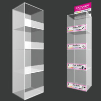 Acrylic Tower Counter Table Display Rack Case with 4 shelves without Accessories