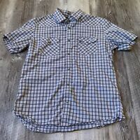 Banana Republic Short Sleeve Button Up Shirt Western Style Snaps Men's Size L