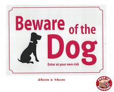 Large White Beware Of The Dog Warning Safety Sign Weatherproof 18 x 25 cm