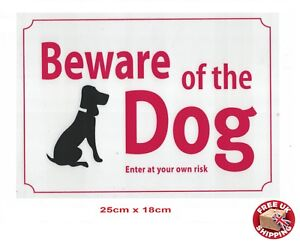 Large White Beware Of The Dog Warning Safety Sign Weatherproof 18 x 25 cm