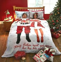 Catherine Lansfield Christmas Xmas Duvet Cover Set DOUBLE Keep Calm Ho Ho Ho