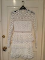 Self-portrait High Neck Star Lace Paneled Dress in White size 6
