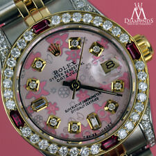 Ladies Rolex Steel Gold 26mm Datejust Watch Pink Flower Color Dial Ruby Diamond