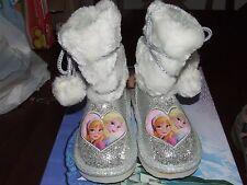 NWOB Frozen Sz 8 Silver Boots Disney Elsa Anna Sparkles Fur Balls FZBA14-172C