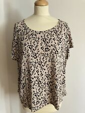 H&M Blush Cotton Leopard Print Top Size Large