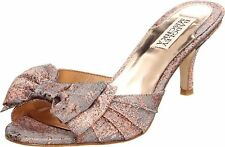 NIB Badgley Mischka MADDY bridal formal  sandals slip on shoes w/BOW  Rose  8