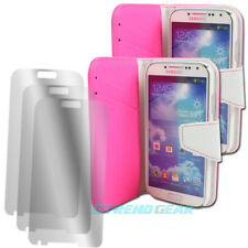 2 X WALLET CASE COVER+SCREEN PROTECTOR FLIP PU LEATHER PINK GALAXY S IV S4 I9500