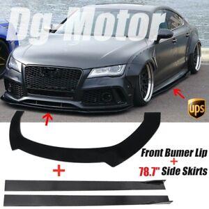 "Front Bumper Lip Spoiler Splitter 78.7"" Side Skirts Kit Fit For Audi RS7 A6 A7"