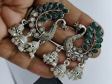 Kolapuri Green Stone Pearl Silver peacock Dangler Jumki Jhumka Indian Earrings