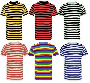 New Men's Striped Cotton Stripy T-Shirt Short Sleeve Stripe Cotton T-Shirt Tops