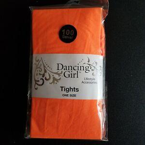 NEON ORANGE TIGHTS 100 DENIER WOMENS ADULTS FANCY DRESS HALLOWEEN PUMPKIN