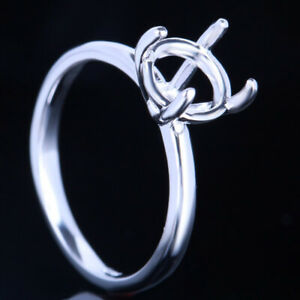 Engagement Wedding Semi Mount Solitare Ring 7.5mm Round Sterling Silver 925