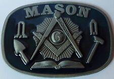 NEW MASON SYMBOL BELT BUCKLE - COMPASS & SQUARE - MASONIC BLUE BUCKLE