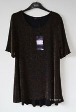 M&S Black & Gold Shimmer Party Top with Stretch, Part Lined, Size 16, BNWT
