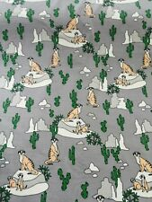 cotton jersey fabric stretch half metre 50cm Meerkats on mid grey cacti