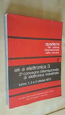 ATTI DI ELETTRONICA Convegno elettronica industriale Torino 1975 LOGICHE CABLATE