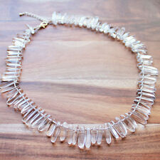 Unique 45cm Clear Quartz Stick Point Semi Precious Natural Stone Necklace