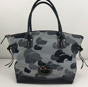 Dooney Bourke Black Duck Print Silhouette Canvas Leather Shoulder Bag Purse