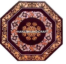 Octagon Marble Coffee Table Top Inlaid Design Marquetry Patio Handmade Arts H484
