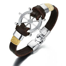 Fashion Brown Men Rudder Leather Bracelet Charm Classic Bangles Sailing Jewelry