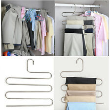 1PC Stainless Steel Purpose Five-layer Pants Tuch Hanger Storage Drying Rack