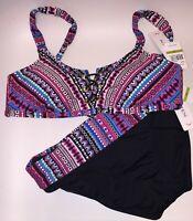 NWT Jantzen Bikini Top & Shirred Waist Bikini Bottom Night Ocean Size 14