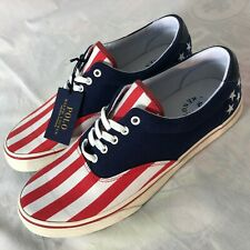 Polo Ralph Lauren Thorton USA American Flag Size 9 Red White & Blue Shoes NEW