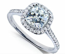 CERTIFIED 2.00CT CUSHION CUT DIAMOND ENGAGEMENT RING 14K WHITE GOLD HALO RING