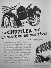 PUBLICITE AUTOMOBILE CHRYSLER 70 LA VOITURE DE VOS REVES DE 1927 FRENCH AD PUB