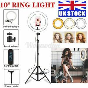 Selfie LED Ring Light Flash + Mobile Phone Holder + 2.1M Tripod Kit For Phone UK