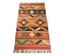 Handmade Indian Jute Wool Kilim Rug Traditional Medium 3x5 Feet Dhurrie DN-2038